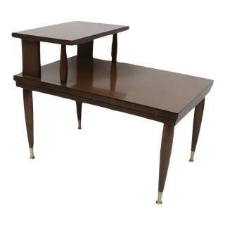 Vintage 60s Mid Century Modern Mersman Oak Wood Formica Tiered Side Table For Sale