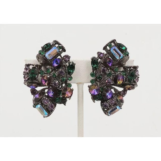 1980s Thelma Deutsch Japanned Rhinestone Earrings For Sale - Image 4 of 6