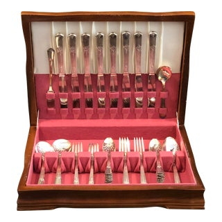 Vintage 1930's Art Deco WM Rogers Sectional Guild Aka Cadence Silver Plate Flatware With Chest - 52 Piece Set For Sale