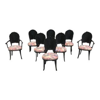 1940s Vintage Italian Ebonized Venetian Grotto Shell Back Dining Chairs- Set of 8 For Sale