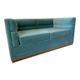 "Organic Modernism's ""Berlin"" Loveseat Reupholstered in a Seafoam Velvet Fabric For Sale"