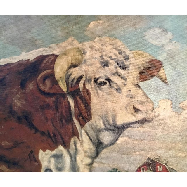 Hereford Bull ~ Oil on Canvas For Sale - Image 4 of 12