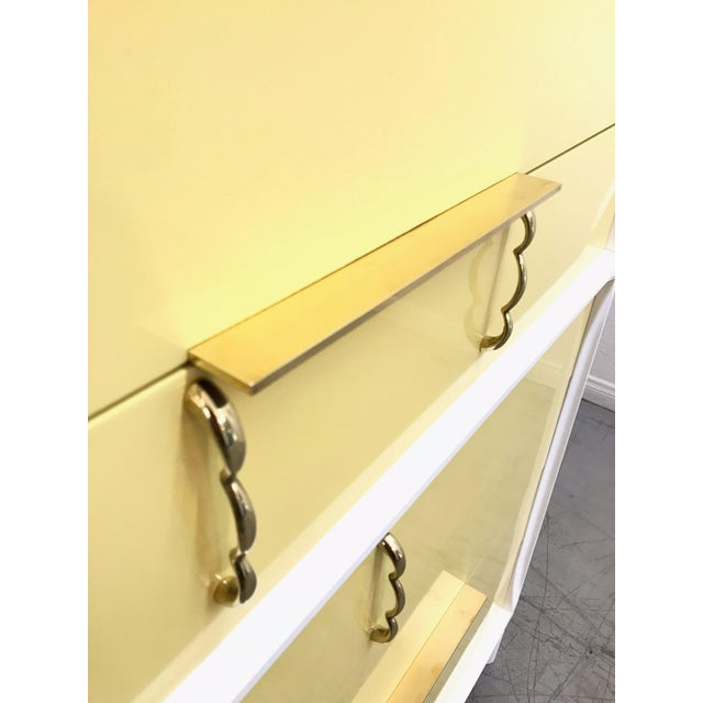 1970s Mid Century Modern White Yellow Lacquered Highboy Dresser For Sale In Los Angeles - Image 6 of 9