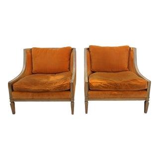 Mid Century Orange Velvet Lounge Chairs - a Pair For Sale