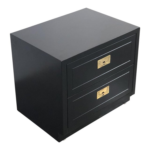 2 Drawer Henredon Black Lacquered Campaign Chest For Sale