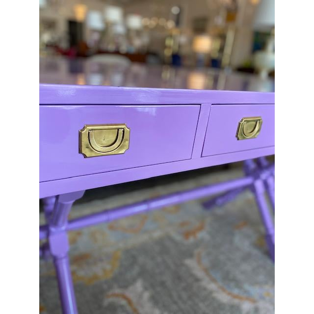 Vintage Campaign Purple Lacquer Writing Desk For Sale - Image 4 of 9