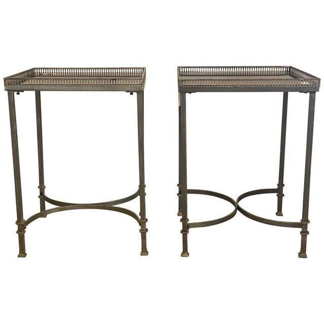 Mid-Century Modern Square Marble Top Silvered Side, Pedestal or End Tables, Pair For Sale - Image 12 of 12