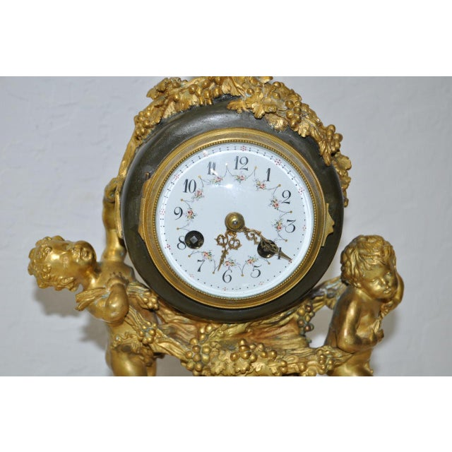 French Auguste Moreau Bronze & Marble French Mantle Clock 19th Century For Sale - Image 3 of 10