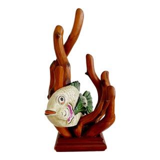 Vintage Modernist Italian Fish Ceramic Pottery With Wooden Algae Sculpture For Sale