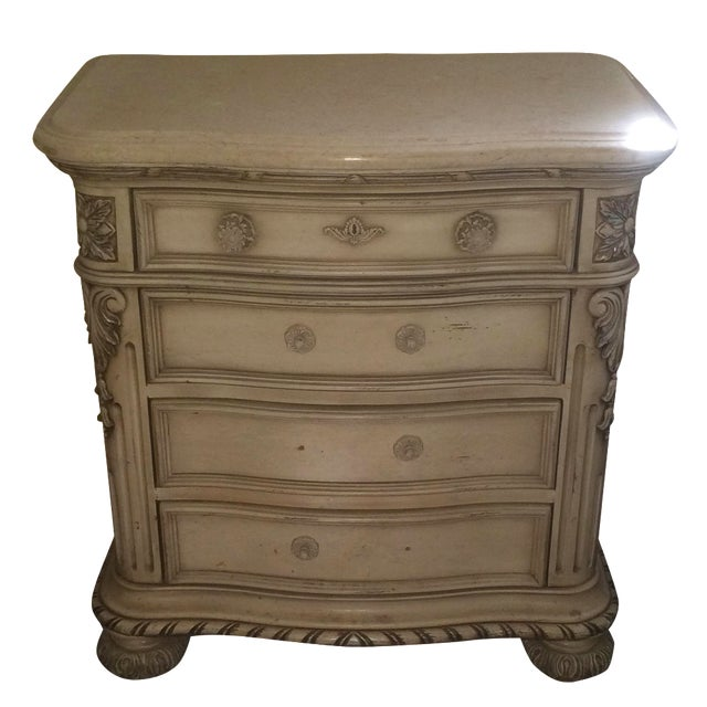 Cream Colored Marble Nightstand - Image 1 of 4