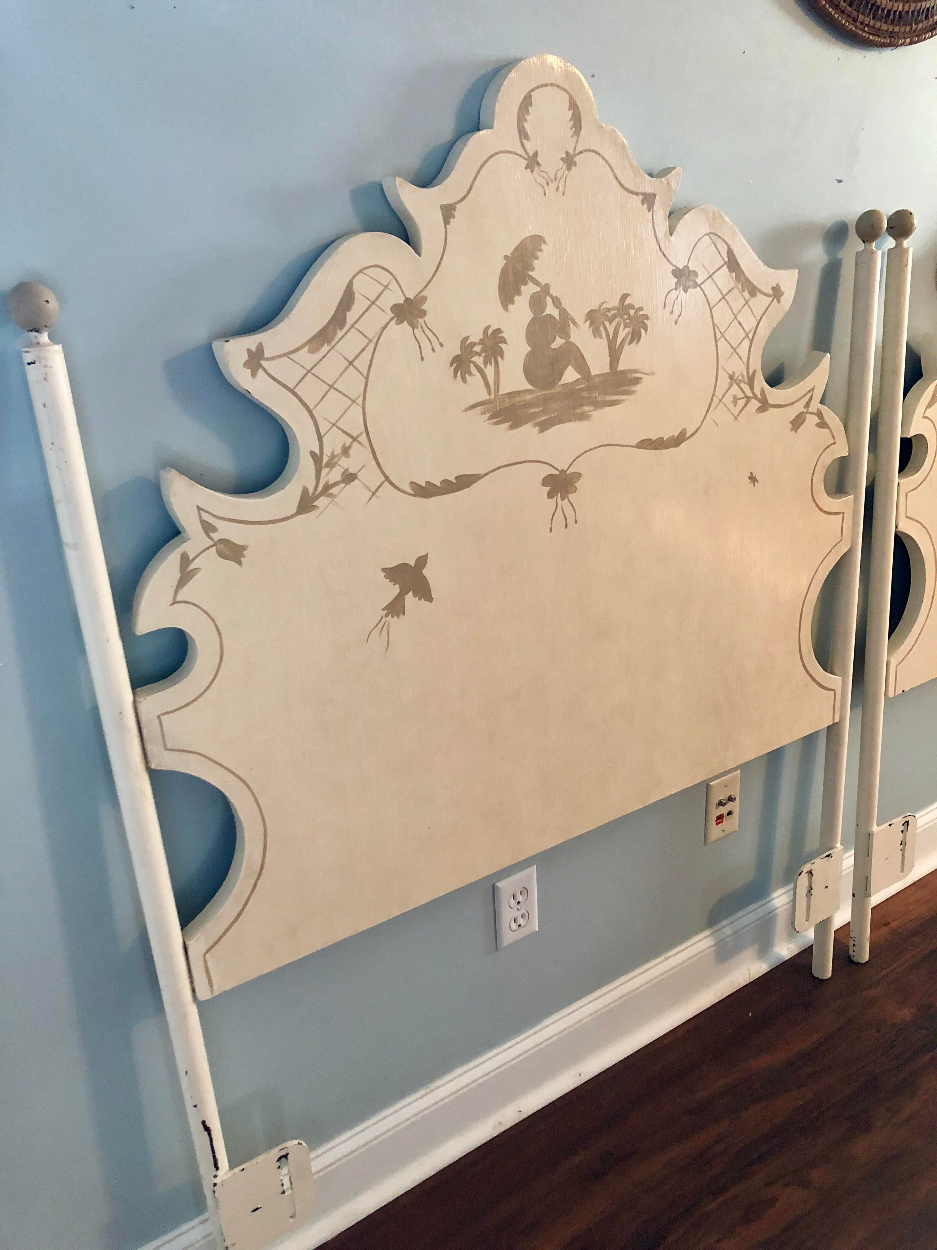 Captivating Jane Keltner For Brighton Pavilion Hand Painted Pagoda Tole Twin Headboards    A Pair   Nice Look