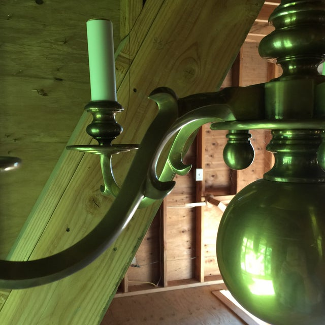 Brass Chapman Chandelier For Sale - Image 9 of 10