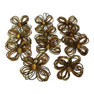 Vintage Beaded Flower Napkin Rings - Set of 11 For Sale