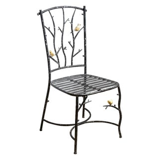 Faux Bois Wrought Iron Chair With Birds on Branches, Vintage For Sale