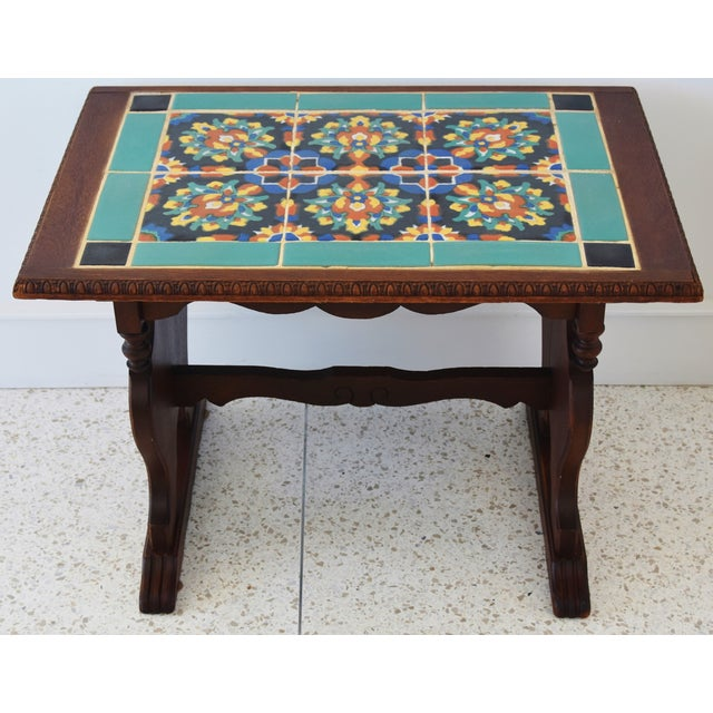 1940s California Mission Tile Oak Accent Coffee Table For Sale - Image 13 of 13