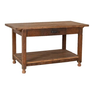Antique Rustic Work Table With Drawer and Shelf For Sale