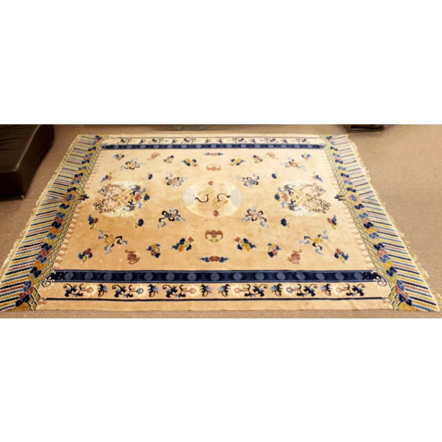 For your consideration is an exquisite, large, rectangular area rug or carpet, made of silk blend, with a swan pattern. In...