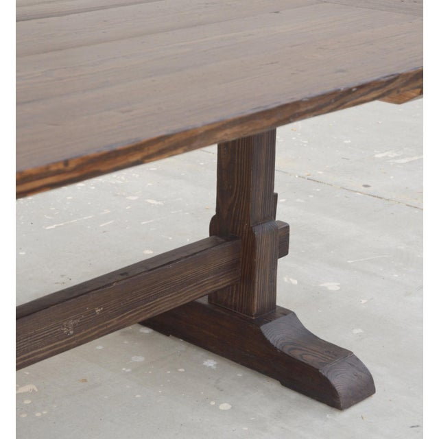 Country Racetrack Trestle Table Made From Reclaimed Pine For Sale In Los Angeles - Image 6 of 11