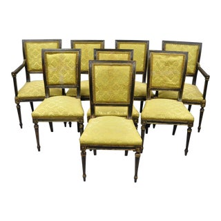 French Louis XVI Regency Style Upholstered Square Back Dining Chairs - set of 8 For Sale