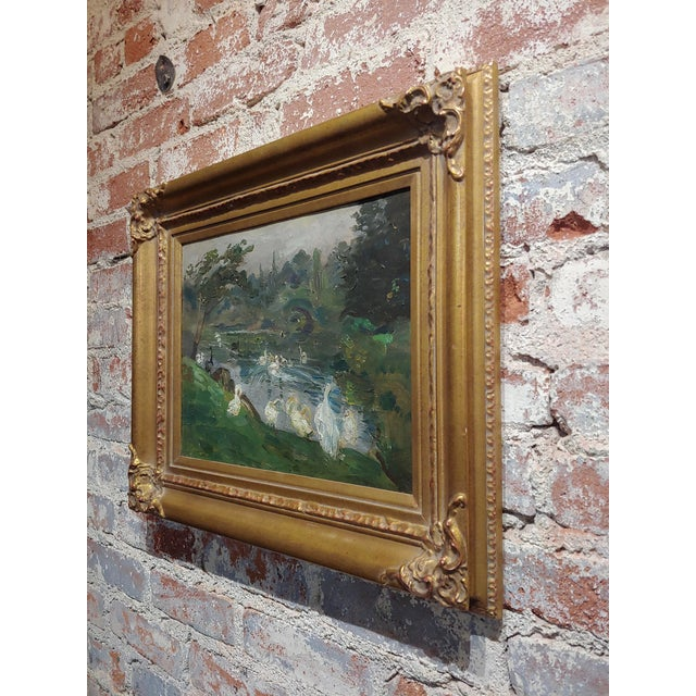 "Antonio Barone ""Duck Pond"" Signed Impressionist Oil Painting C.1910 For Sale In Los Angeles - Image 6 of 9"