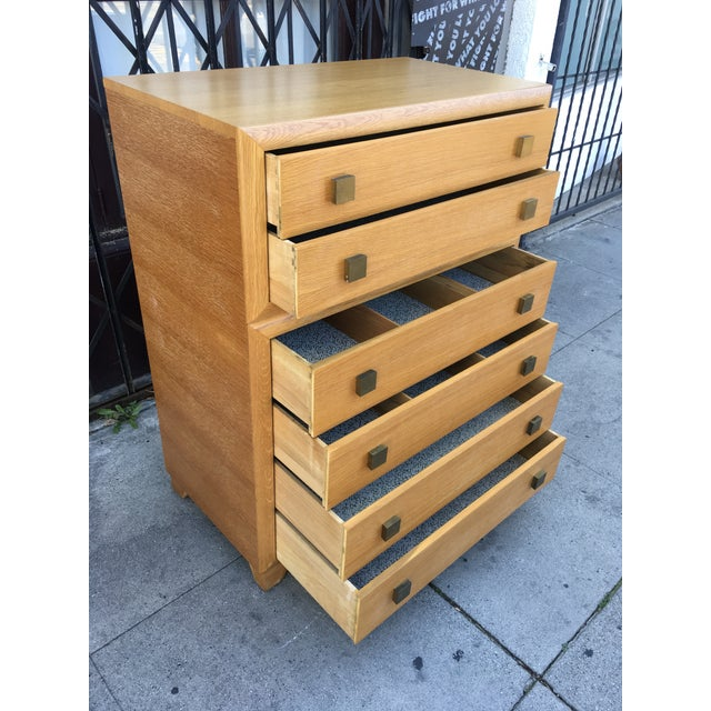 1940s Art Deco Oak Highboy Chest of Drawers For Sale - Image 9 of 13