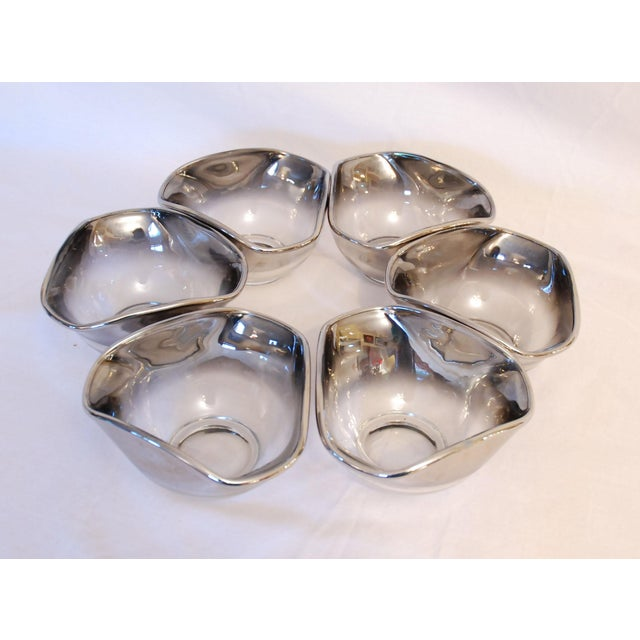 """Vintage 7 piece Mid Century Dorothy Thorpe silver rim fade glass salad bowl set. The large serving bowl is about 10"""" in..."""