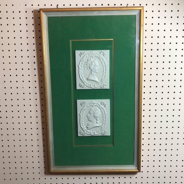 Green Vintage Georgian Era Framed Ceramic Tiles For Sale - Image 8 of 8