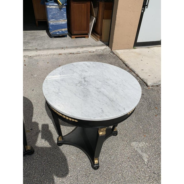 Black 1910s Antique French Empire Marble Top Accent Tables or Gueridon Tables - a Pair For Sale - Image 8 of 13