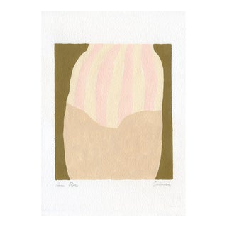 """""""Swimmer"""" Contemporary Minimalist Abstract Gouache Painting For Sale"""
