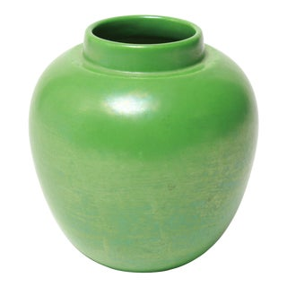 Ruskin English Arts & Crafts Green Lustre Pottery Vase For Sale