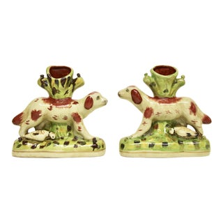Staffordshire Spaniel Spill Vases, Pair For Sale