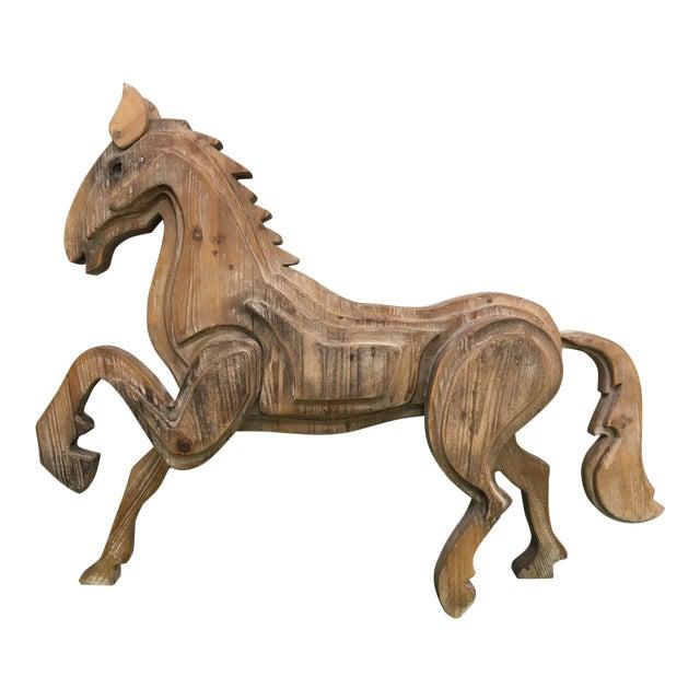 Large Monumental Modernist Sculptural Wood Horse Statue - Image 1 of 6