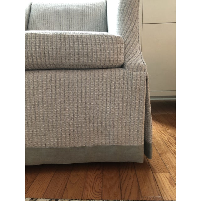 Transitional Bernhardt Clayton Swivel Chairs With a Custom Tape Trim - a Pair For Sale - Image 3 of 4
