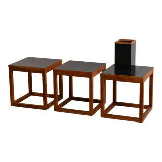 Minimal Teak and Laminate Cube Tables & Matching Lamp - 4 Pc. Set For Sale