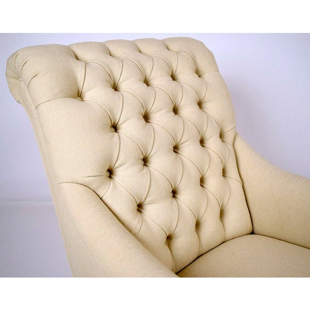 Continental-Style Tufted Bergeres - A Pair - Image 9 of 11
