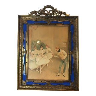 French Gilt Bronze Ormolu & Blue Guilloche Enamel Picture Frame For Sale