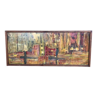 1970's Abstract Oil on Board Landscape Painting by Fernando Bimonte For Sale