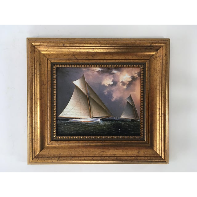 America's Cup Sailing Ships Framed Reproduction Painting For Sale - Image 4 of 4