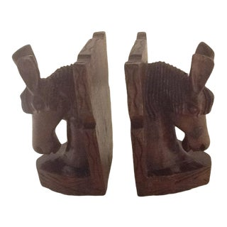 Vintage Carved Wood Horse Head Bookends - a Pair For Sale