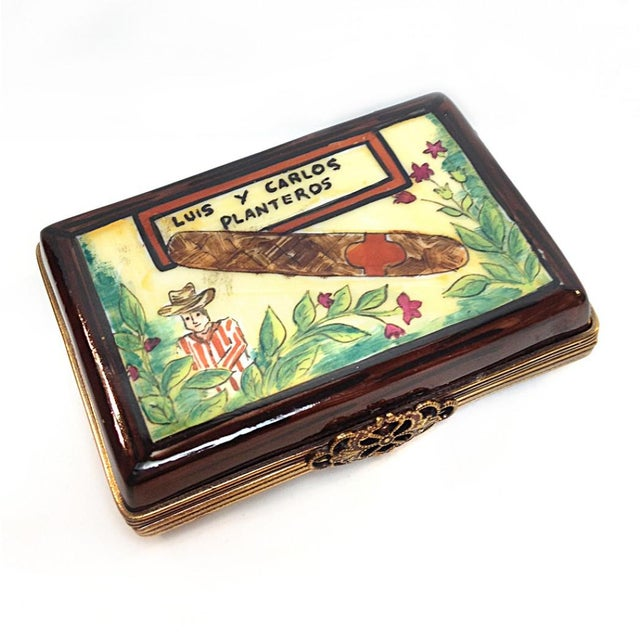 Late 20th Century Hand Painted Cuban Cigar Limoges Box For Sale - Image 5 of 5