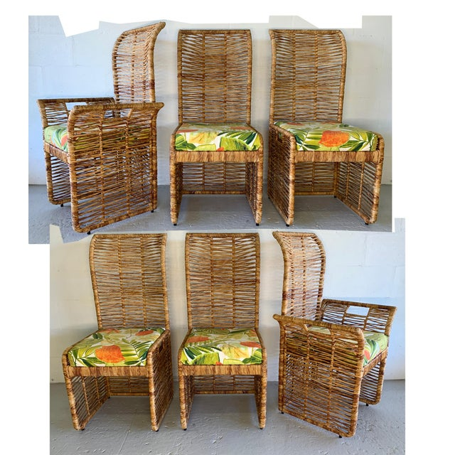 Rattan Jute Rope Wrapped Dining Chairs, Set of 6 For Sale - Image 13 of 13