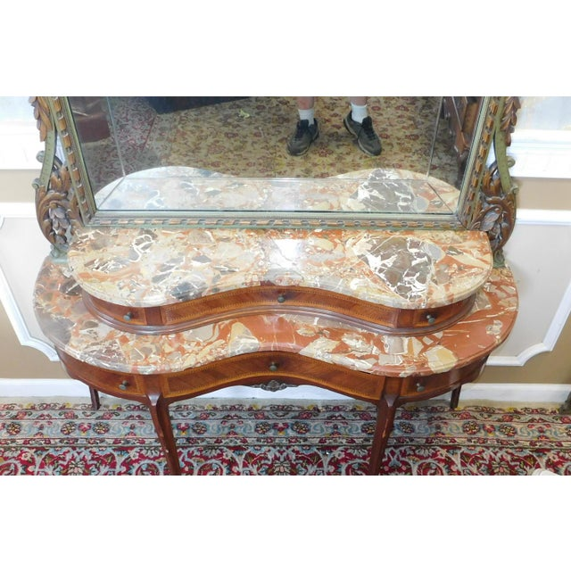 Fine 1920s French inlaid & Banded Mahogany Marble Top Bedroom Dressing Table Vanity w/ Mirror - Image 10 of 11