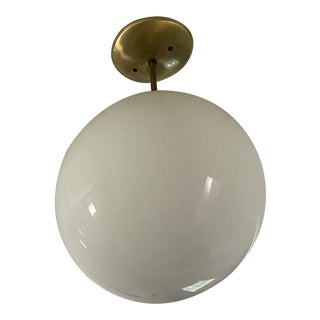 1950s Copper Blown Glass Globe Ceiling Lamp For Sale