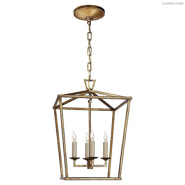 "Visual Comfort ""Darlana"" Large Lantern, Designed by E.F. Chapman (Item No. CHC2176GI). Height: 34"" Width: 24"" Canopy: 7.5""..."