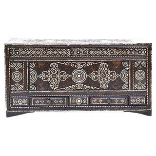 Late-19th-C. Mother-Of-Pearl Inlay Trunk For Sale