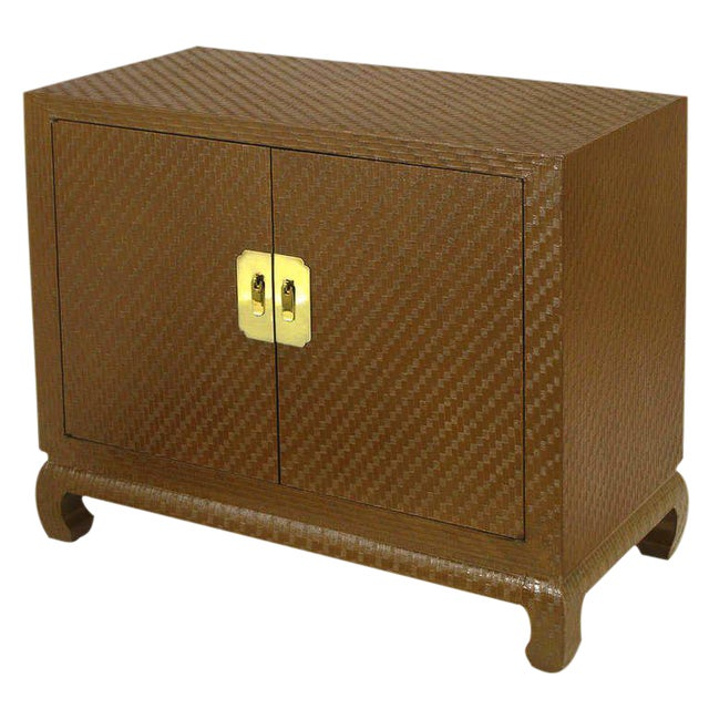 Baker Chinoiserie Cabinet In Chocolate Lacquered Grass Cloth For Sale