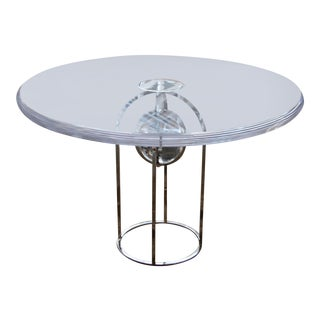 Charles Hollis Jones Thick Lucite Table With Bull Radius Edge and Nickel Base For Sale