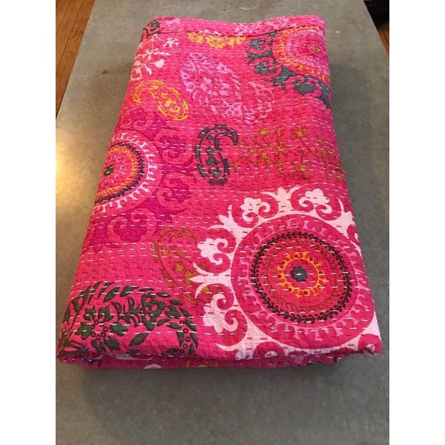 Indian Pink Kantha Blanket Throw - Image 2 of 5