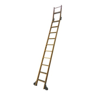 Vintage Putnam Angled Rolling Library Ladder For Sale