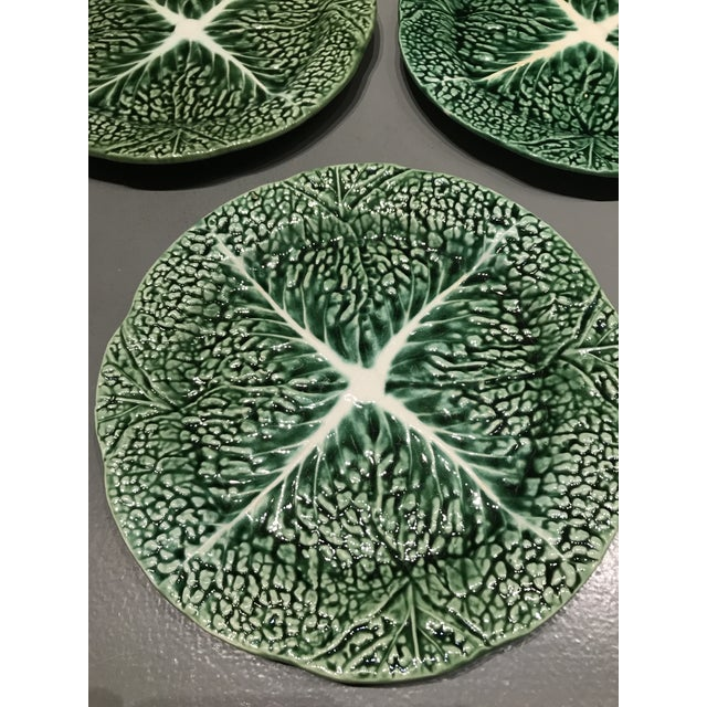 Green Vintage Secla Green Ceramic Majolica Cabbage Salad Plates - Set of 3 For Sale - Image 8 of 10